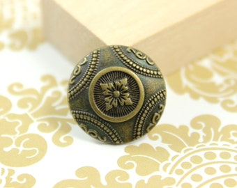 Metal Buttons - Carpet Patterns Metal Buttons , Antique Brass Color , Shank , 0.79 inch , 10 pcs