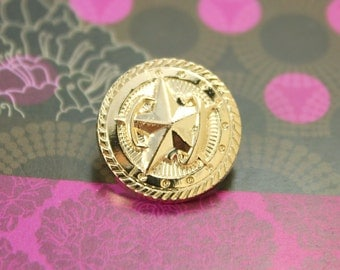 Metal Buttons - Barn Star Metal Buttons , Gold Color , Shank , 0.71 inch , 10 pcs