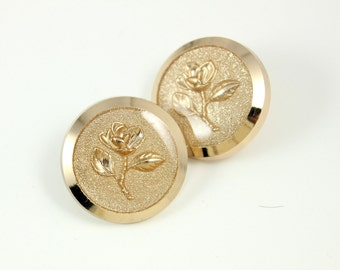 Metal Buttons - Light Gold Buttons With Charming Rose Carving Inside The Transparent Enamel. 0.71 inch, 8 pcs