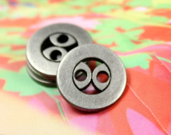 Metal Buttons - Double Arc Design 2 Holes Buttons , 0.59 inch , 10 pcs