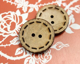 Coconut Buttons with Sewing edge effect,Antique feeling,  0.91 inch, 10 pcs