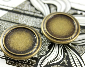 Metal Buttons - Embossed Border Metal Buttons , Antique Brass Color , Shank , 1.14 inch , 10 pcs