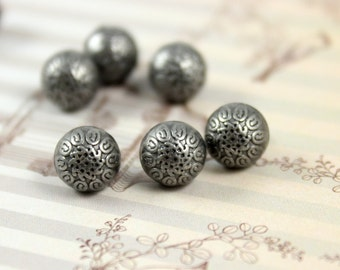 Metal Buttons - Baroque Carving Ball Metal Buttons , Nickel Silver Color , Shank , 0.28 inch , 10 pcs