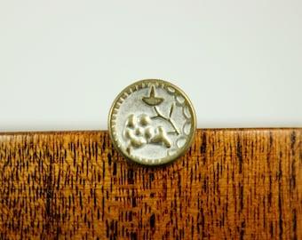 Metal Buttons - Plum Flower Metal Buttons , Brass Patina Color , Shank , 0.51 inch , 10 pcs