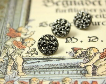 Metal Buttons - Bouquet Metal Buttons , Nickel Silver Color , Openwork , Shank , 0.43 inch , 10 pcs
