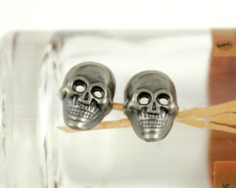Metal Buttons - Skull Metal Buttons , Nickel Silver Color , 2 Holes , 0.51 inch , 10 pcs