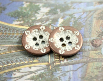 Metal Buttons - Snowflake Metal Buttons , Copper White Patina Color , 4 Holes , 0.51 inch , 10 pcs