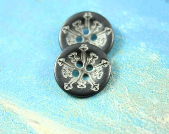 Metal Buttons - Snowflakes Metal Buttons , Gunmetal White Color , 4 Holes , 0.51 inch , 10 pcs