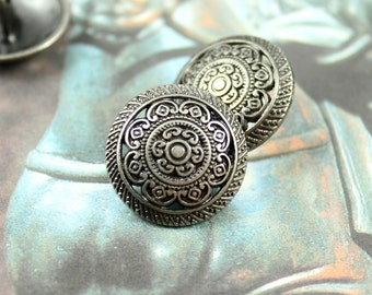 Metal Buttons - Lacework Filigree Metal Buttons , Nickel Silver Color , Shank , 0.91 inch , 10 pcs