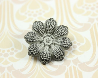 Metal Buttons - Clematis Flower Metal Buttons , Gunmetal Gray Color , Shank , 0.91 inch , 10 pcs