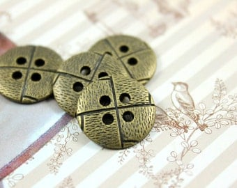 Metal Buttons - Pinwheel Metal Buttons , Antique Brass Color , 4 Holes , 0.71 inch , 10 pcs