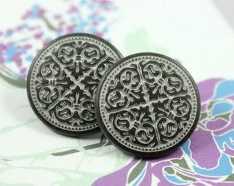 Metal Buttons - Mandala Metal Buttons , Gunmetal White Color , Shank , 0.59 inch , 10 pcs