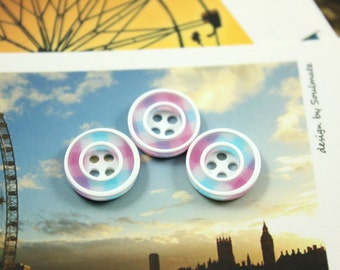 Fresh Buttons - Cyan Theme Color RIng Plastic Buttons,  0.51 inch, 10 pcs
