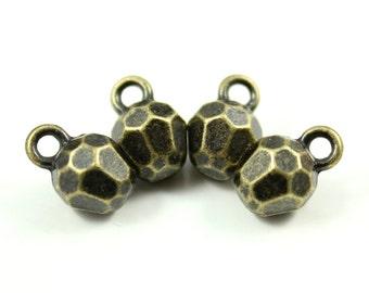 Metal Buttons - Multi Facet Metal Buttons , Antique Brass Color , Shank , 0.27 inch , 10 pcs