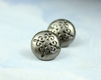 Metal Buttons - Trefoil Cross Metal Buttons , Nickel Silver Color , Domed , Shank , 0.39 inch , 10 pcs
