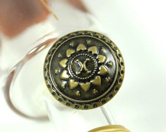 Metal Buttons - Heart Petals Flower Metal Buttons , Antique Brass Color , Shank , 0.79 inch , 10 pcs
