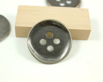 Metal Buttons - Bended Edge Metal Buttons , Nickel Silver Color , 4 Holes , 1.38  inch , 4 pcs