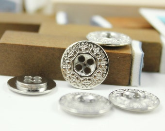 Silver Metal Buttons - Carving Scrollwork Decorative Border Silver Buttons.0.51 inch. 10 in a set
