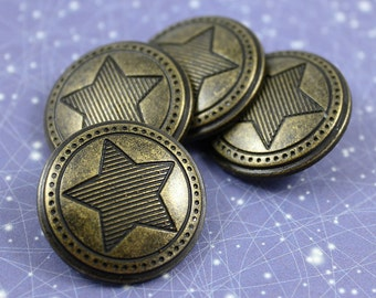 Metal Buttons - Stripes Star Metal Buttons , Antique Brass Color , Shank , 0.79 inch , 10 pcs