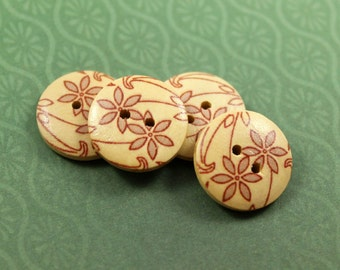 Wooden Buttons - Japanese Style Natural Wooden buttons with Khaki Tawny-Day-Lily pattern, 0.71 inch, 10 pcs