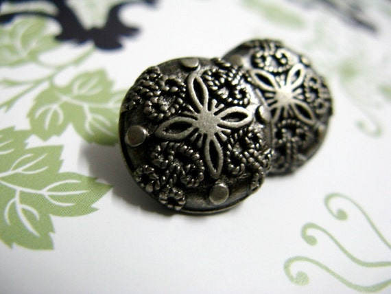 Metal Buttons - Damascene Carvings Metal Buttons , Nickel Silver Color , Shank , 0.59 inch , 10 pcs