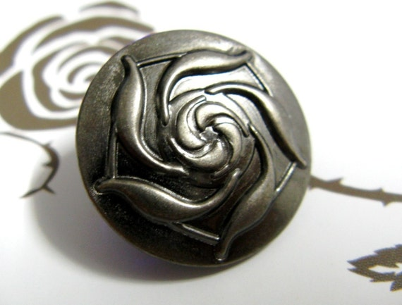 Metal Buttons - Rose Bloom Metal Buttons , Nickel Silver Color , Shank , 0.79 inch , 10 pcs