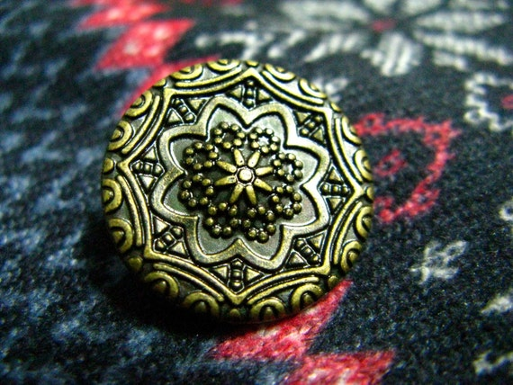 Copper Metal Buttons - 10 Pieces of Islamic Pattern Bronze Buttons. 0.79 inch