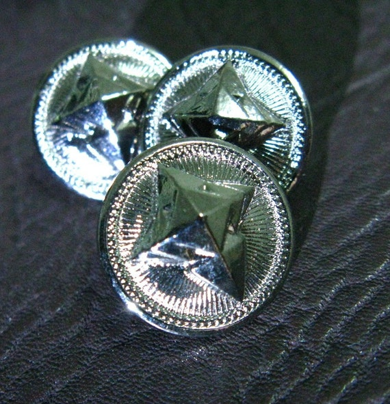 Metal Buttons - Cross Star Metal Buttons , Silver Color , Shank , 0.59 inch , 10 pcs