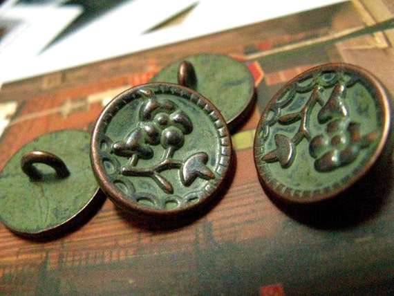Metal Buttons - Matcha Color Engraving Flower Copper Edge Shank Metal Buttons. 0.51 inch. 10 pcs