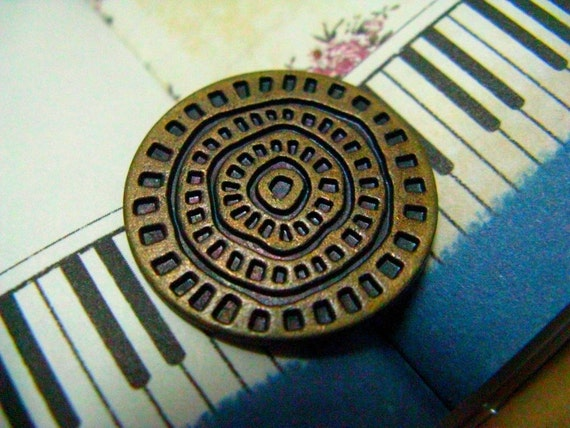Metal Buttons - Dotted Concentric Metal Buttons , Antique Brass Color , Shank , 0.91 inch , 10 pcs