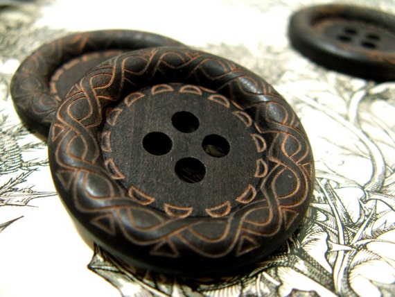 Large Wood Buttons - Beautiful Swirls Decorative Domed Border Cascading Recessed Center Brown Wooden Buttons, 1.38 inch (10 in a set)