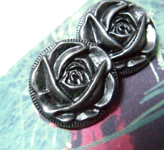 LOVELY Set 10 Elaborate Unique Gunmetal Carving Rose Flower Bloom Metal Shank Buttons, 0.79 inch