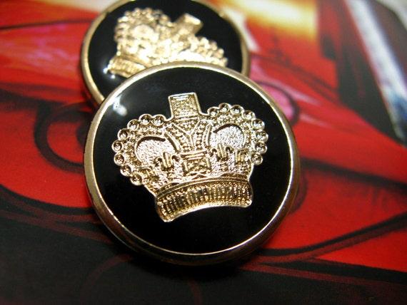 Metal Buttons - Gold Crown Metal Buttons , Black Enamel Color , Shank , 0.91 inch , 10 pcs