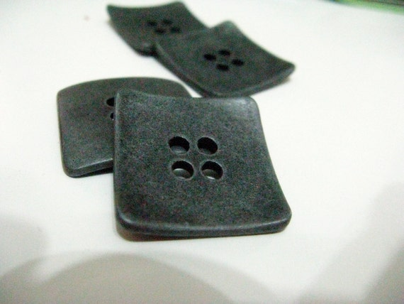 Hardware Metal Buttons - 4 Pieces Of Square Solid Metal Bend Design 4 holes Buttons. 1 inch