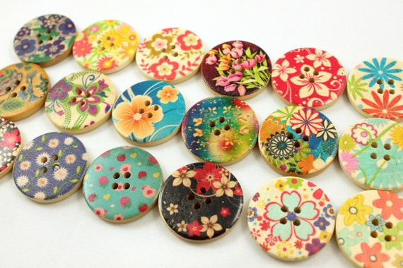 Mix and Match Iridescent Flowers Picture 18 Wooden Buttons. 1.18 inch