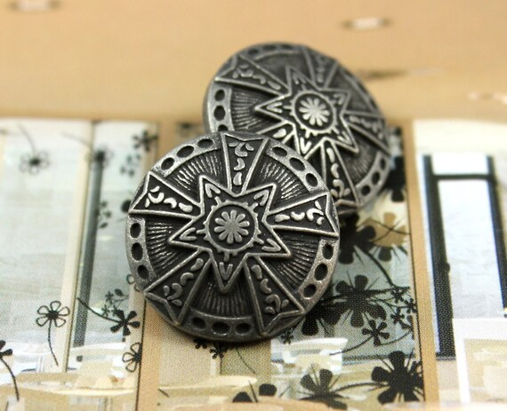 Metal Buttons - Star Emblem Metal Buttons , Retro Silver Color , Shank , 0.83 inch , 10 pcs