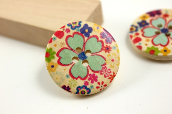Flower Wooden Buttons - Cartoon Style Blooming Sakura Picture Wooden Buttons. 1.18 inch. 6 in a set