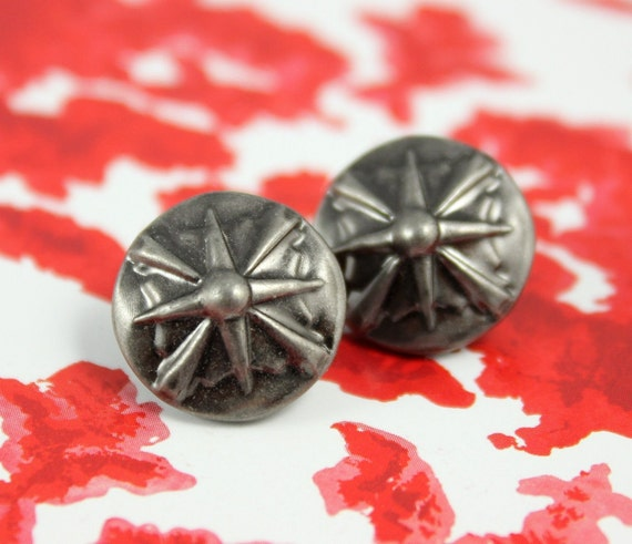 Metal Buttons - Gladiator Shield Metal Buttons , Nickel Silver Color , Shank , 0.71 inch , 10 pcs