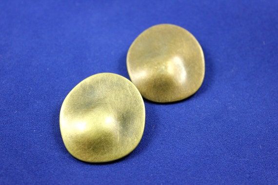 Metal Buttons - Subround Metal Buttons , Antique Brass Color , Solid , Shank , 1.5 inch , 1 pc