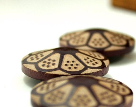 Wooden Buttons - Luxury Big Flower Bloom Umbrella Shape Coffee Brown Original Wooden Buttons. 1.15 inch. 7 pcs