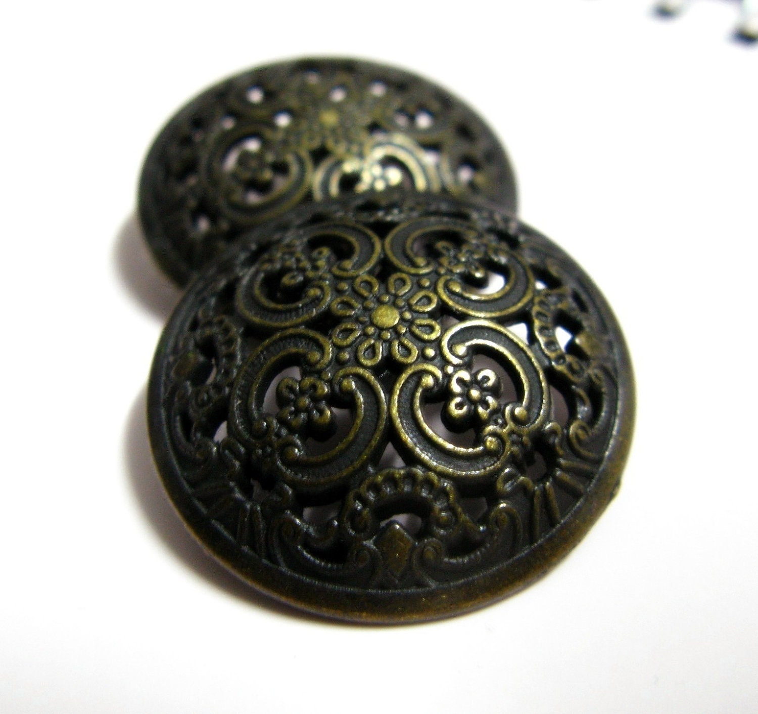 Metal Buttons Opeowork Floral Engraving Metal Buttons