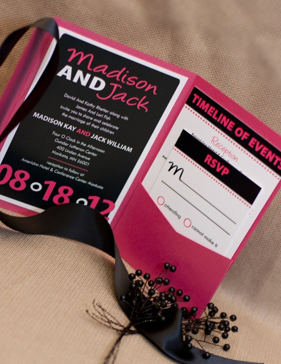 Party Rock Wedding Invitation Collection shown in black and pink - as always FREE shipping