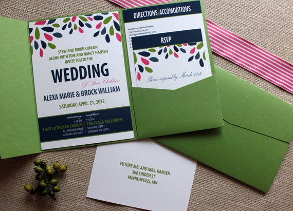 Pink And Navy Blue Wedding Invitations: Items Similar To Bloom And Your Groom Wedding Invitations