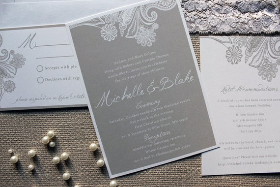 Wedding Invitations Grey: Items Similar To Hint Of Lace Wedding Invitation