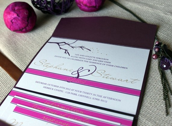 Branching Out Wedding Invitation shown in purple plum, bold fuschia and soft gold deposit, FREE shipping