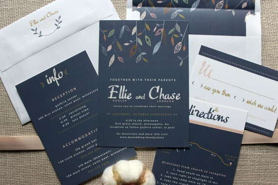 Navy Blue And Gold Wedding Invitations: Falling Leaves Navy Wedding Invitation Shown In Navy Blue
