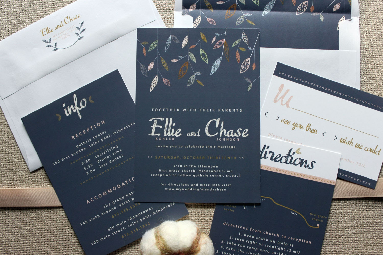 falling leaves navy wedding invitation shown in navy blue, Wedding invitations