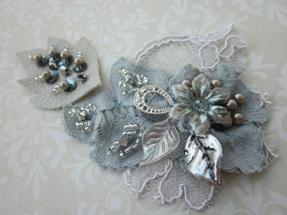 Silver/Taupe Lace Applique