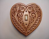 Cherry color, heart shaped, hand carved, switch cover plate