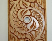 All hand carved cable outlet cover plate